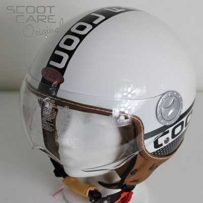 Scooterhelm, City Cool Fashion met opklapbaar vizier in wit.
