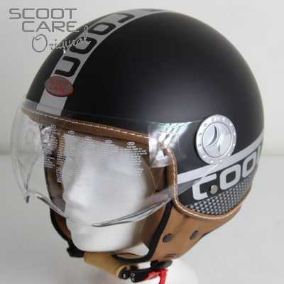 Scooterhelm, City Cool Fashion met opklapbaar vizier in zwart mat.